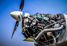 Airplane engine. An airplane engine with the cover opened Stock Photos