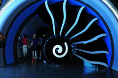 The airplane engine. In the GE hall demonstrated airplane engine section plane model Stock Photos