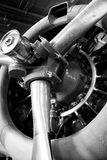 Airplane Engine. And propellors in vintage black and white royalty free stock images