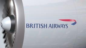 Airplane turbine with British Airways logo. Editorial conceptual 3D rendering. Airplane engine with logo. Editorial conceptual 3D royalty free illustration