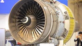 Airplane engine motor with blades close-up stock video