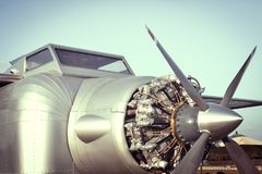 Airplane engine and Propeller Stock Image