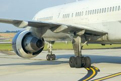 Airplane Engine Rear. Rear view of airliner on a taxiway stock image