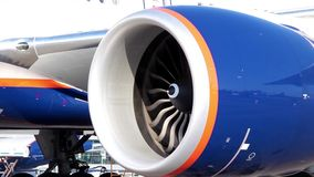 Airplane engine turbine stock footage