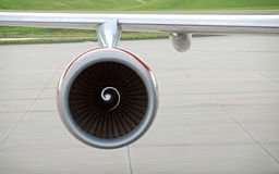 Airplane engine and wing Royalty Free Stock Photos
