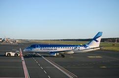 Airplane2. Estonian Air Embraer 170, registration ES-AEA, departing from Tallinn Airport Royalty Free Stock Photos