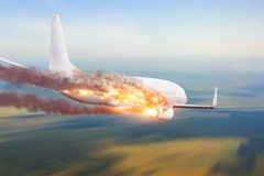 Airplane exploded in the sky, crashes. Crash concept.  royalty free stock photos