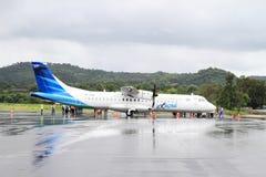 Airplane Explore on airport Royalty Free Stock Photos