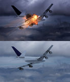 Airplane explosion Stock Images