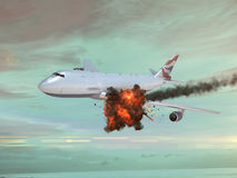 Airplane with an explotion in the sky Stock Photo