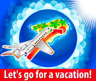 Airplane for a fantastic island. Vector illustration Stock Illustration