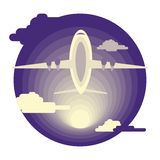 Airplane in flat design Stock Image