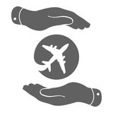 Airplane in flat hands icon Royalty Free Stock Image