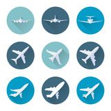 Airplane flat icons set vector Royalty Free Stock Images