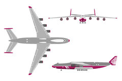 Airplane in a flat style on white background. Top view, front vi stock illustration
