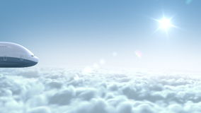Airplane flies above the clouds Stock Photography