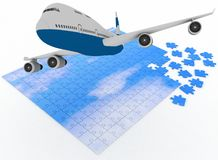 Airplane flies above sky from puzzle Stock Photography