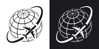 Airplane flies around the earth. Simple icon on black and white background stock photo