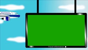 Airplane flies in blue sky - Banner with chromokey screen stock video footage