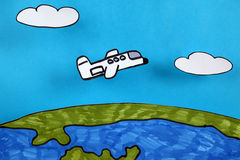 Airplane flies over planet Earth Royalty Free Stock Photo