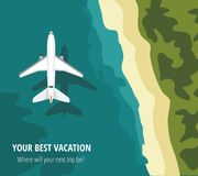 Airplane flies over a sea, view from above. Vector Illustration stock illustration