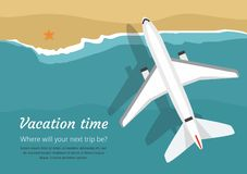 Airplane flies over a sea, view from above. Vacation stock illustration