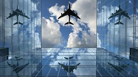 Airplane Flies in the Reflections on the Office Buildings Against a Time-Lapse Clouds Background, 3d Animation 4k, Ultra