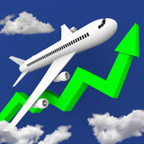 Airplane in Flight Along Green Arrow stock illustration