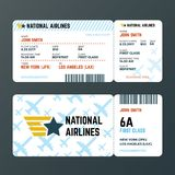 Airplane flight boarding pass ticket isolated vector template. Ticket to airplane, pass passenger document illustration vector illustration
