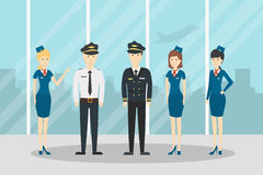 Airplane flight crew. Royalty Free Stock Photography