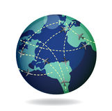 Airplane flight paths over earth globe. Illustration Vector Illustration