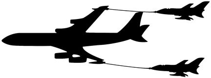 Airplane in-flight refueling. Illustration with a big airplane refueled by two minor jet, in an aerial operations called in-flight refueling or air-to-air stock illustration