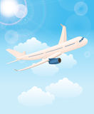 Airplane flight tickets air fly cloud sky. Background with airplane, around the world Royalty Free Stock Photos