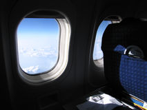 Airplane flight - view from the seat. View from the airplane seat Royalty Free Stock Photos