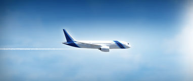 Airplane flight widescreen Royalty Free Stock Images