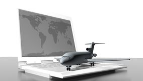 Airplane flights and computer Stock Images