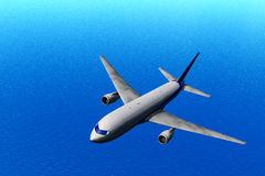 Airplane in fly. Flying airplane. Ocean background Stock Photos