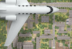 Airplane fly above city. top view. 3d rendering. Fragment private airplane fly above city. top view. 3d rendering Royalty Free Stock Photos