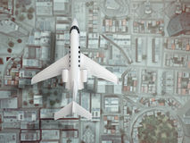 Airplane fly above city. top view. 3d rendering. Private airplane fly above city. top view. 3d rendering Stock Photography