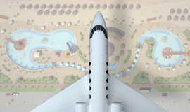 Airplane fly above rest zone. top view. 3d rendering. Private airplane fly above resort zone. top view. 3d rendering Stock Images