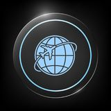 Airplane fly around the planet Earth logo. Element for your design. . Signs and symbols - graphic elements for your design Royalty Free Stock Photography