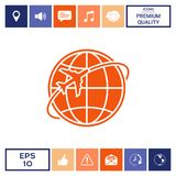 Airplane fly around the planet Earth logo. Element for your design. . Signs and symbols - graphic elements for your design Royalty Free Stock Image