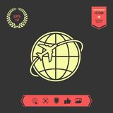 Airplane fly around the planet Earth logo. Element for your design. . Signs and symbols - graphic elements for your design Vector Illustration
