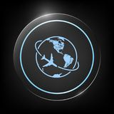 Airplane fly around the planet Earth logo icon. Element for your design. . Signs and symbols - graphic elements for your design Royalty Free Stock Photos