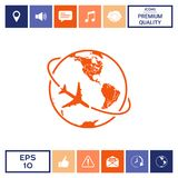 Airplane fly around the planet Earth logo icon. Element for your design. . Signs and symbols - graphic elements for your design Royalty Free Stock Images
