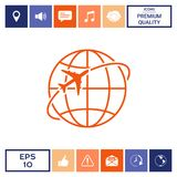 Airplane fly around the planet Earth logo icon. Element for your design. . Signs and symbols - graphic elements for your design Stock Images