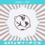 Airplane fly around the planet Earth logo icon. Element for your design stock illustration