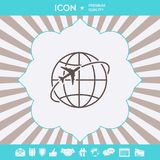 Airplane fly around the planet Earth logo icon. Element for your design vector illustration