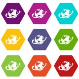 Airplane fly around the planet icon set color hexahedron Stock Photography