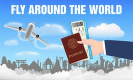 Airplane fly around the world and hand passport royalty free illustration